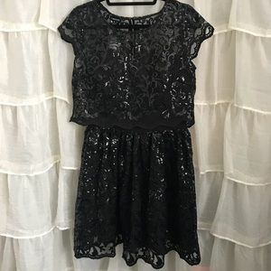 Bebe Bella Lace Sequin Dress